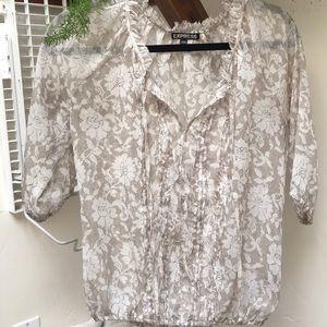Cream flower blouse